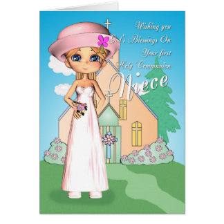Niece first holy communion little girl and church greeting card