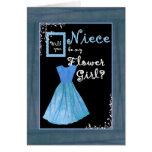 NIECE Flower Girl Invitation MINT GREEN Dres Dress Greeting Card