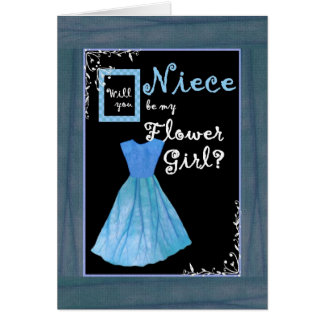 NIECE Flower Girl Invitation MINT GREEN Dres Dress Greeting Card