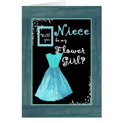 NIECE Flower Girl Invitation TURQUOISE BLUE Dress Greeting Card