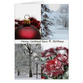 Niece & Girlfriend Christmas Red Winter collage Card