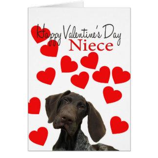 Niece Glossy Grizzly Valentine Puppy Love Card