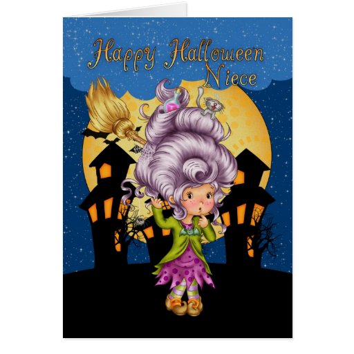 niece halloween card with cute witch