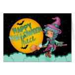 niece halloween card with cute witch on broom
