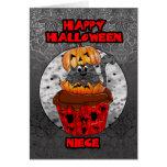 niece halloween cupcake cat, grey tabby in a hallo card