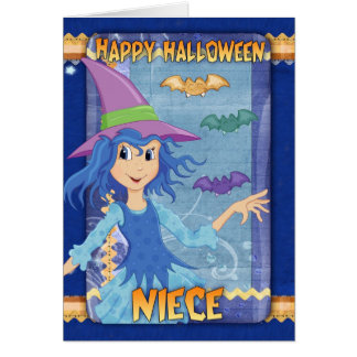 niece halloween greeting card with little witch