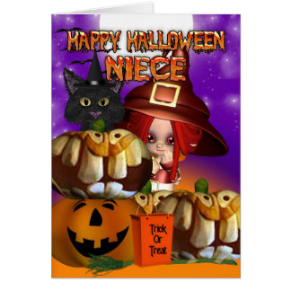 Niece Halloween witch cat pumpkin jack o lantern Card