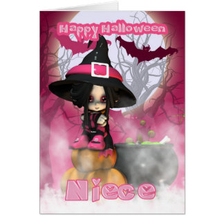 Niece Halloween with Girlie Witch in pinks Card