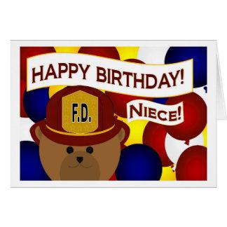 Niece - Happy Birthday Firefighter Hero! Card