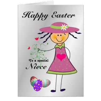 Niece / Happy Easter / Egg Hunt - Cartoon Girl Card