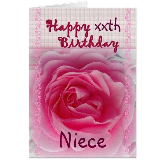 NIECE - Happy xxth Birthday - Pink Rose Card