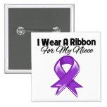 Niece - I Wear Purple Ribbon 2 Inch Square Button