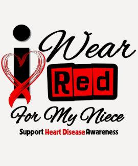 Niece  -  I Wear Red Ribbon Heart Disease T-shirt