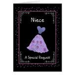 NIECE  Junior Bridesmaid  Purple Dress Ver 002 Greeting Card