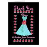NIECE Junior Bridesmaid THANK YOU - Blue Gown Greeting Cards