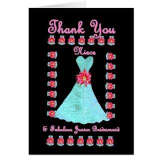 NIECE Junior Bridesmaid THANK YOU - Blue Gown Greeting Card
