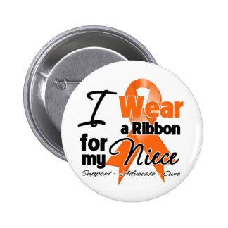 Niece - Leukemia Ribbon Pinback Button