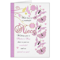 Niece Mother's Day Card With Flowers And Butterfli