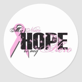Niece My Hero - Breast Cancer Hope Classic Round Sticker