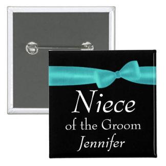 NIECE of GROOM Aqua Bow Wedding Custom Name Y128 2 Inch Square Button