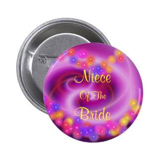 Niece Of The Bride Swirly Heart Button