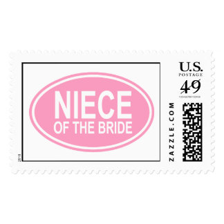 Niece of the Bride Wedding Oval Pink Postage