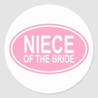 Niece of the Bride Wedding Oval Pink Classic Round Sticker