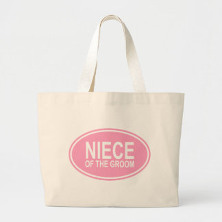 Niece of the Groom Wedding Oval Pink Large Tote Bag
