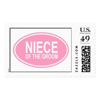 Niece of the Groom Wedding Oval Pink Postage