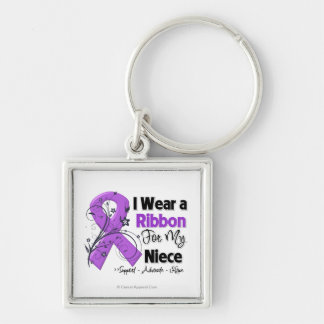 Niece - Pancreatic Cancer Ribbon Silver-Colored Square Keychain