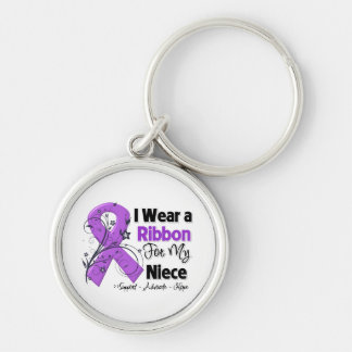 Niece - Pancreatic Cancer Ribbon Silver-Colored Round Keychain