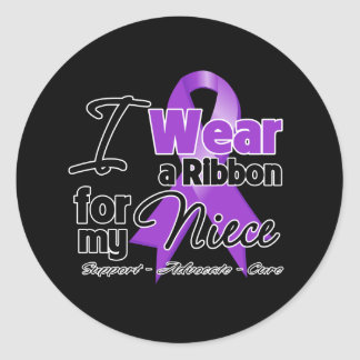 Niece - Pancreatic Cancer Ribbon Classic Round Sticker