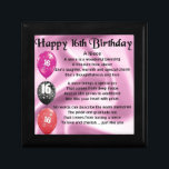 """Niece Poem -  16th Birthday Gift Box<br><div class=""""desc"""">A great gift for a niece on her 16th birthday</div>"""