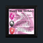 "Niece Poem -  16th Birthday Gift Box<br><div class=""desc"">A great gift for a niece on her 16th birthday</div>"