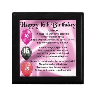 Niece Poem -  16th Birthday Gift Box