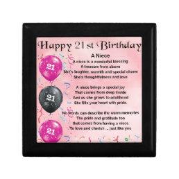 Niece Poem - 21st Birthday Jewelry Box