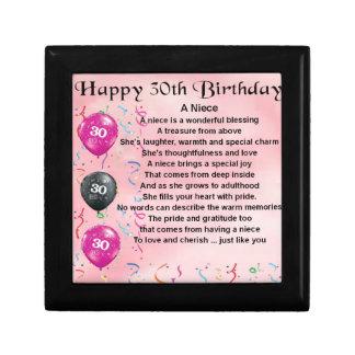 Niece Poem - 30th Birthday Keepsake Box