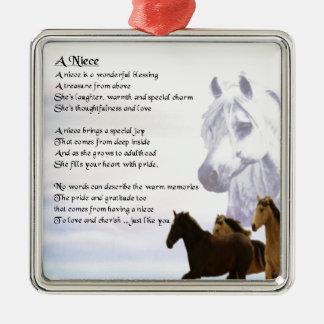 Niece Poem - Horses Square Metal Christmas Ornament
