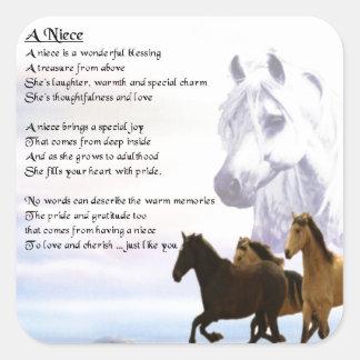 Niece Poem - Horses Square Sticker