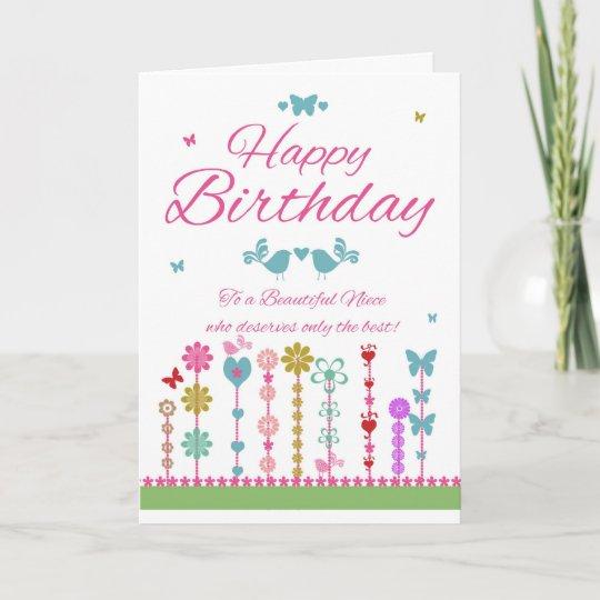 Niece Pretty Birthday Card With Butterflies Zazzle