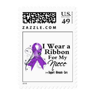 Niece Purple Ribbon - Pancreatic Cancer Postage