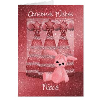 Niece Sparkle Christmas Greeting Card Dusky Pink