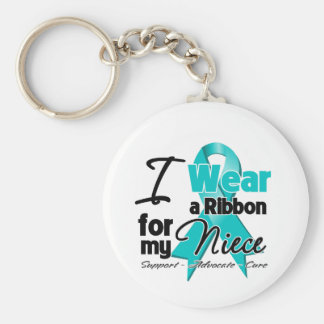 Niece - Teal Awareness Ribbon Basic Round Button Keychain