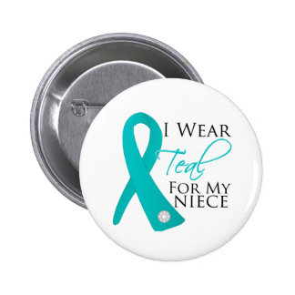 Niece - Teal Ribbon Ovarian Cancer Pinback Buttons