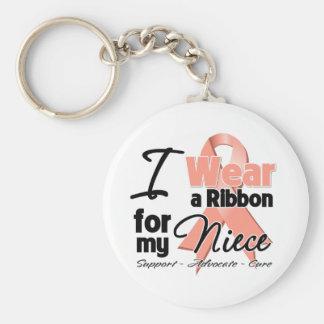 Niece - Uterine Cancer Ribbon Basic Round Button Keychain