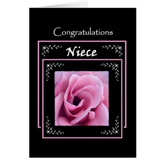 NIECE Wedding Congratulations - Pink Rose Card