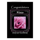 NIECE Wedding Congratulations - Pink Rose Greeting Card
