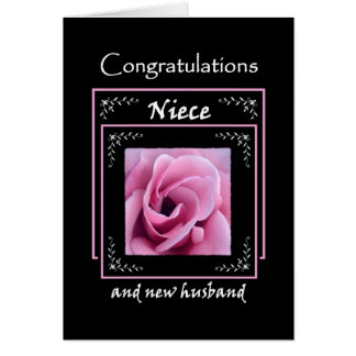 NIECE Wedding Congratulations - Pink Rose Greeting Card