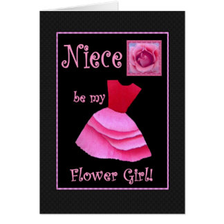 Niece Will You Be My Flower Girl? Pink Dress Card