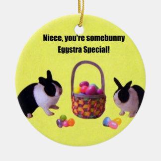 Niece, You're somebunny eggstra special! Ceramic Ornament